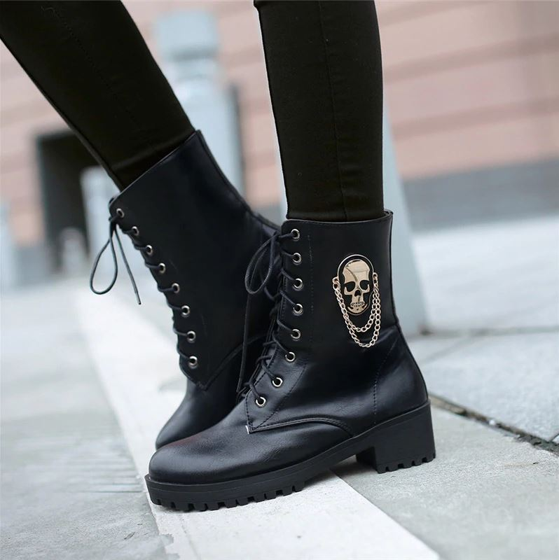 skull boot for women