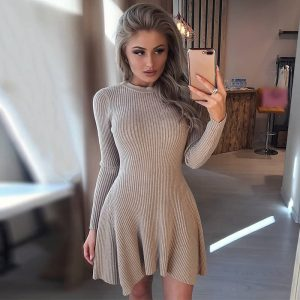 Women Long Sleeve Sweater Dress