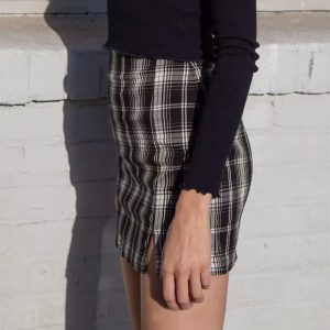 Black and white Plaid Mini Skirt